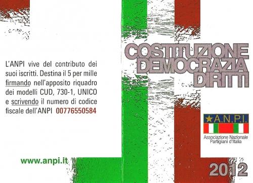 20 novembre, giornata del tesseramento, tessera 2012, antifascisti, anpi, martina franca, partigiani