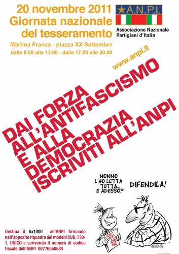 20 novembre,giornata del tesseramento,tessera 2012,antifascisti,anpi,martina franca,partigiani