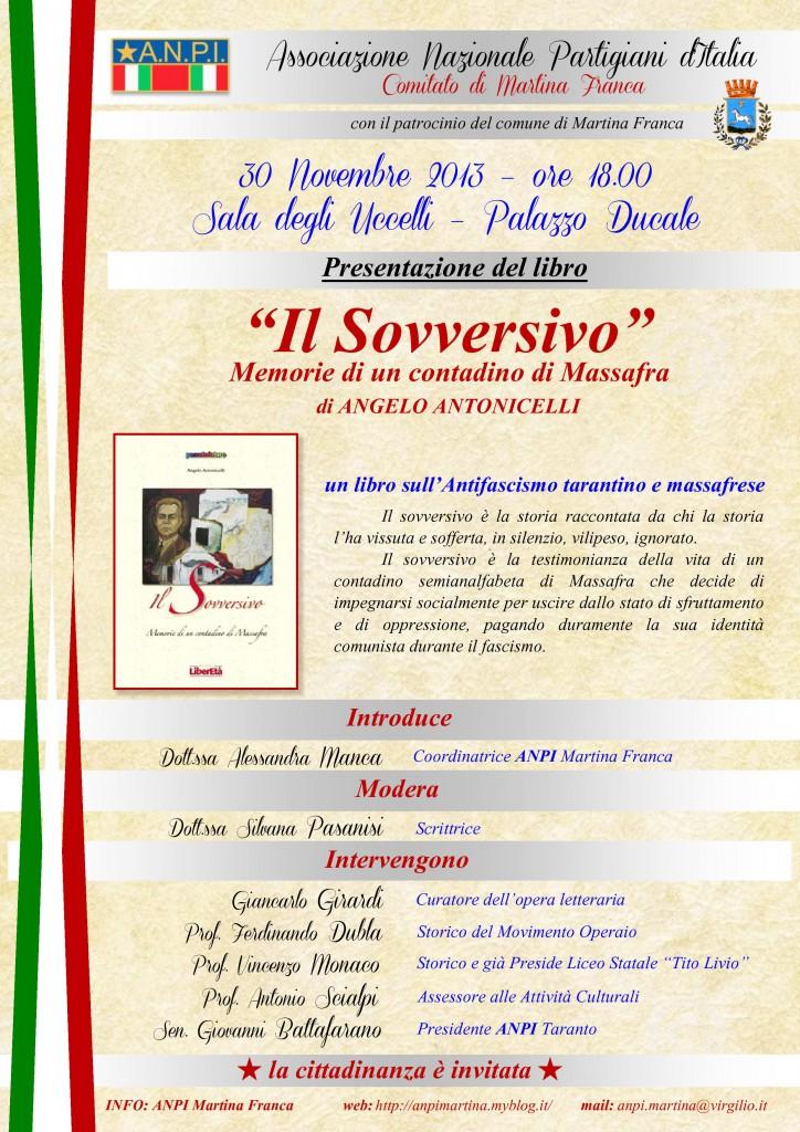 """locandina presentazione libro """"Il Sovversivo"""" di Anpi Martina"""